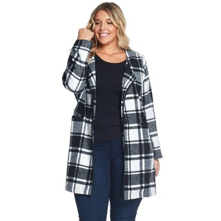 Hadari Women's Plus Size Casual Fashion Plaid Black Wool Coat Jacket