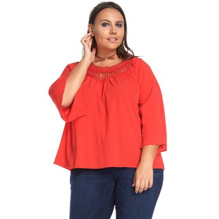 Hadari Women's Plus Size Casual Loose Coral Crochet Blouse Shirt Tops
