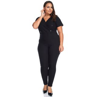 Hadari Women's Plus Size Slimming V-Neck Black Button Jumpsuit Playsuit (Option: 1x)|https://ak1.ostkcdn.com/images/products/13405698/P20101036.jpg?impolicy=medium