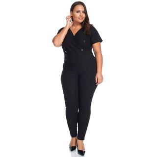 Hadari Women's Plus Size Slimming V-Neck Black Button Jumpsuit Playsuit