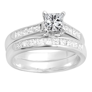 14k white gold 12ct tdw princess diamond bridal ring engagement set h i - Wedding Ringscom
