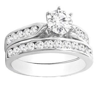 14k White Gold 1 3/4ct TDW Round Diamond Bridal Engagement Ring Set