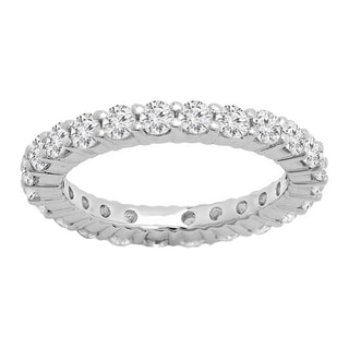10k Gold Cubic Zirconia Eternity Wedding Anniversary Stackable Ring