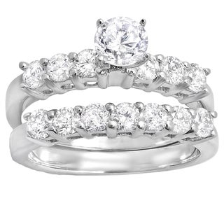 14k White Gold 1 1/3ct TDW Round Diamond Bridal Semi Mount Ring Set (H-I, I1-I2)