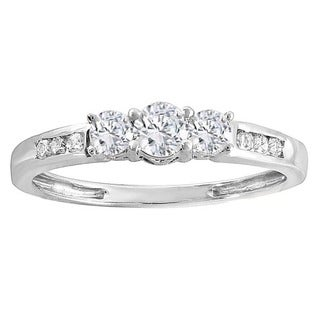 14k Gold 1/3ct TDW Round Diamond 3-stone Engagement Bridal Ring (H-I, I1-I2)