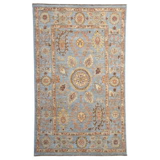 Hand-knotted Sky Blue Peshawar Wool Oriental Rug (4'1 x 6'6)