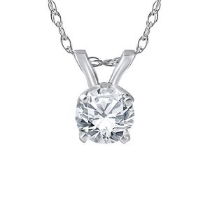 14k White or Yellow Gold 3/4 ct TDW Solitaire Diamond Pendant (I-J,I2-I3)