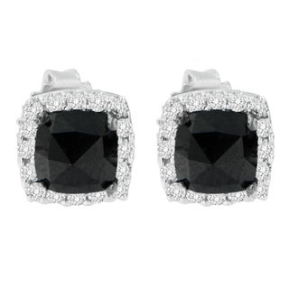 14k White Gold 2ct TDW Round and Rose-Cut Black Diamond Stud Earrings (H-I, I2-I3)