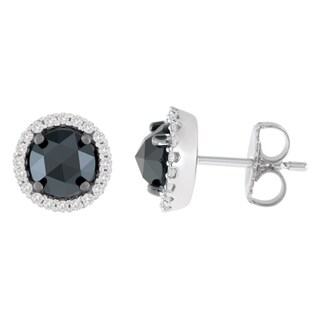 14K White Gold 3 ct. TDW Round and Rose-Cut Black Diamond Stud Earrings (H-I, I2-I3)