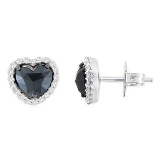 14k White Gold 2 1/2ct TDW Round and Heart-Cut Black Heart-Shaped Diamond Stud Earrings (H-I, I2-I3)