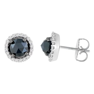 14k White Gold 2 1/2ct TDW Round and Rose-Cut Black Diamond Stud Earrings (H-I, I2-I3)