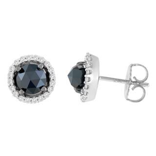 14K White Gold 2 1/2 ct. TDW Round and Rose-Cut Black Diamond Stud Earrings (H-I, I2-I3)|https://ak1.ostkcdn.com/images/products/13408318/P20103245.jpg?impolicy=medium