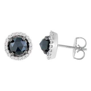 14K White Gold 2 1/2 ct. TDW Round and Rose-Cut Black Diamond Stud Earrings (H-I, I2-I3)