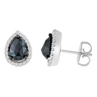 14k White Gold 2 1/4ct TDW Round and Pear-Cut Black Diamond Stud Earrings (H-I, I2-I3)