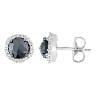 14k White Gold 2 1/4ct TDW Round and Rose-Cut Black Diamond Stud Earrings (H-I, I2-I3)