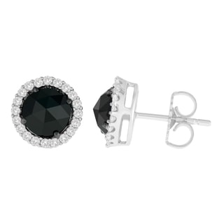 14k White Gold 2 3/4ct TDW Round and Rose-Cut Black Diamond Stud Earrings (H-I, I2-I3)