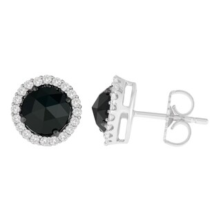 14K White Gold 2 3/4 ct. TDW Round and Rose-Cut Black Diamond Stud Earrings (H-I, I2-I3)
