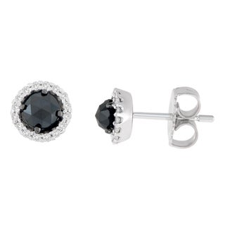 14K White Gold 3/4 ct. TDW Round and Rose-Cut Black Diamond Stud Earrings (H-I, I2-I3)