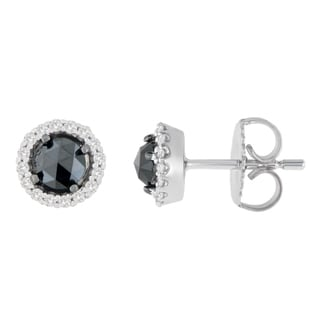 14k White Gold 1ct TDW Round and Rose-Cut Black Diamond Stud Earrings (H-I, I2-I3)