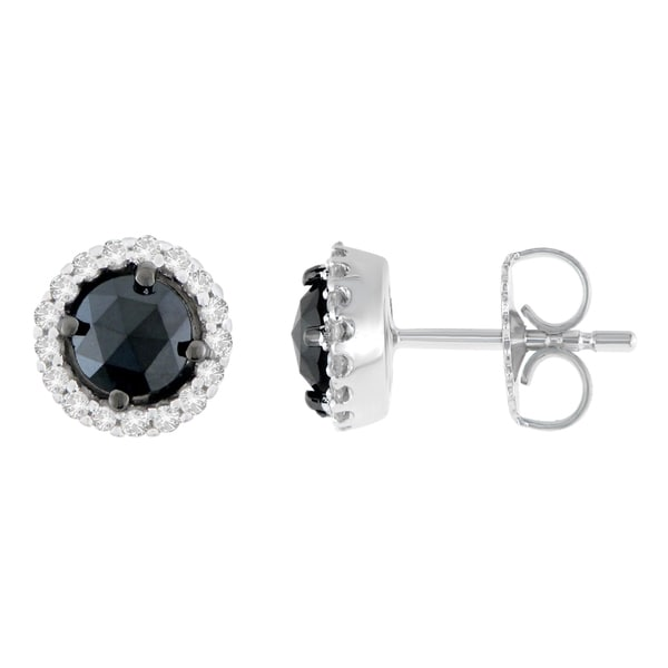 c6cdccee1 14K White Gold 1 ct. TDW Round and Rose-Cut Black Diamond Stud Earrings