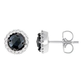 14K White Gold 1 ct. TDW Round and Rose-Cut Black Diamond Stud Earrings (H-I, I2-I3)