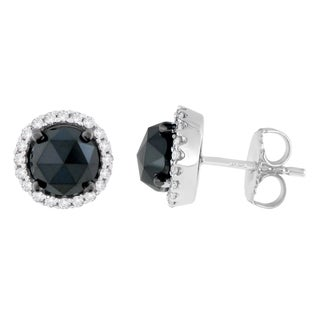 14K White Gold 3.3 ct. TDW Round and Rose-Cut Black Diamond Stud Earrings (H-I, I2-I3)