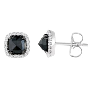 14k White Gold 1 2/5ct TDW Round and Rose-Cut Black Diamond Stud Earrings (H-I, I2-I3)