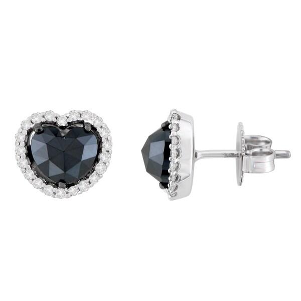 3f96a9b62 Shop 14K White Gold 2 1/3 ct. TDW Round and Black Heart-cut Diamond ...