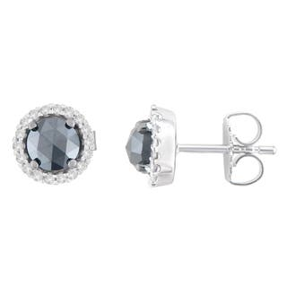 14K White Gold 1 1/2 ct. TDW Round and Black Rose-Cut Diamond Stud Earrings (H-I, I2-I3)|https://ak1.ostkcdn.com/images/products/13408342/P20103254.jpg?impolicy=medium