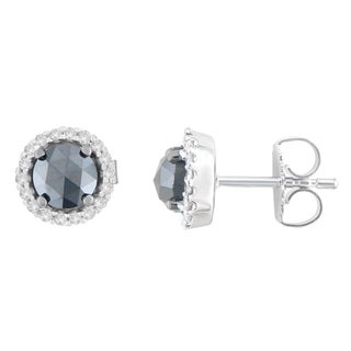 14K White Gold 1 1/2 ct. TDW Round and Black Rose-Cut Diamond Stud Earrings (H-I, I2-I3)