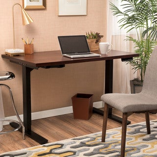 Millard 55-inch Acacia Wood Desk with Adjustable Height and Dual Powered Base by Christopher Knight Home
