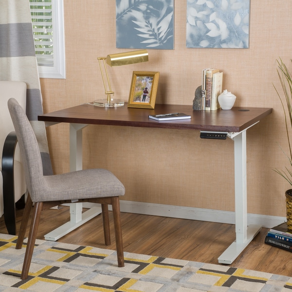 Buren 55-inch Acacia Wood Desk with Adjustable Height and Dual Powered