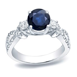 Auriya Platinum 1ct Blue Sapphire and 1/2ct TDW Diamond Engagement Ring (H-I, SI1-SI2)