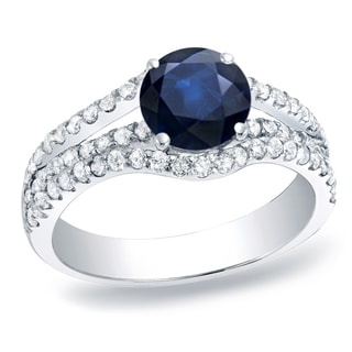 Auriya Platinum 1/2ct Blue Sapphire and 5/8ct TDW Diamond Halo Engagement Ring (H-I, SI1-SI2)