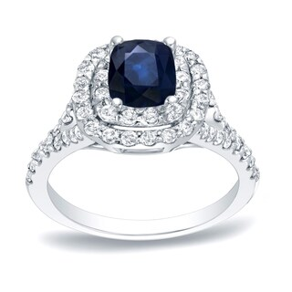 Auriya Platinum 1/2ct Blue Sapphire and 3/4ct TDW Diamond Halo Engagement Ring (H-I, SI1-SI2)