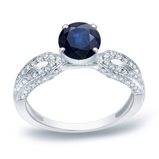 Auriya Platinum 1ct Blue Sapphire and 1/5ct TDW Diamond Engagement Ring (H-I, SI1-SI2)