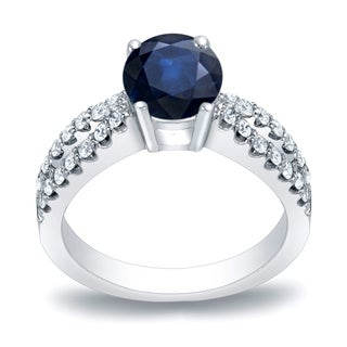 Auriya Platinum 3/5ct Blue Sapphire and 2/5ct TDW Diamond Engagement Ring (H-I, SI1-SI2)