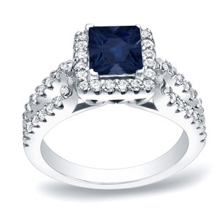 Auriya Platinum 1ct Blue Sapphire and 3/4ct TDW Diamond Engagement Ring (H-I, SI1-SI2)