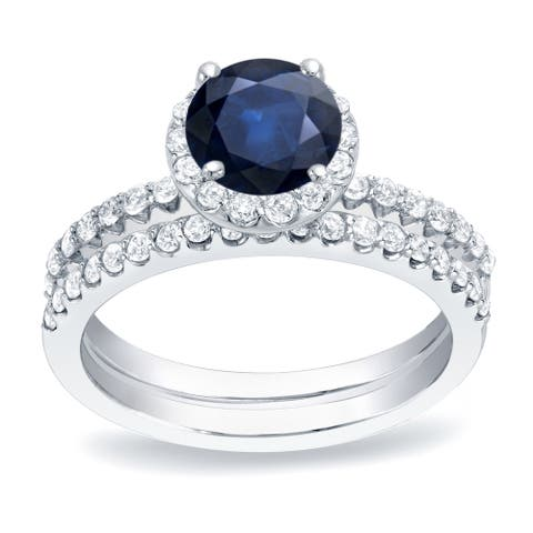 Auriya Platinum 1/2ct Blue Sapphire Halo Diamond Engagement Ring 3/4ctw