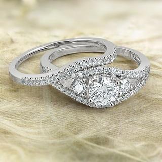 Auriya Platinum 1 1/2ct TDW Round Cut Diamond Bridal Ring Set (G-H, SI2-SI3)