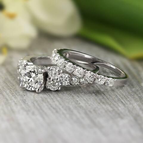 Auriya Platinum 2ctw Classic Round Diamond Engagement Ring Set