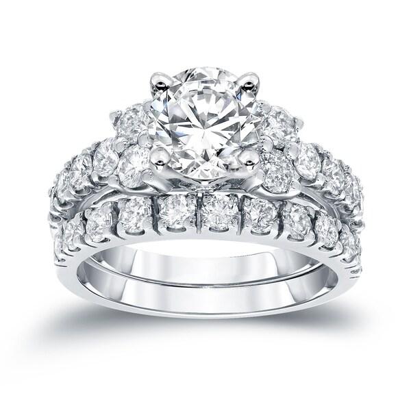 Auriya Platinum 2ct TDW Certified Round Diamond Engagement Wedding Ring Set