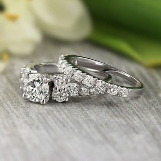 auriya platinum 2ct tdw certified round cut diamond bridal ring set - Engagement Wedding Ring Sets