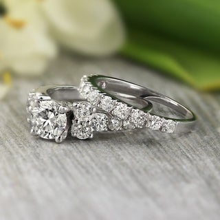 Auriya Platinum 2ct TDW Certified Round Diamond Engagement Wedding Ring Set