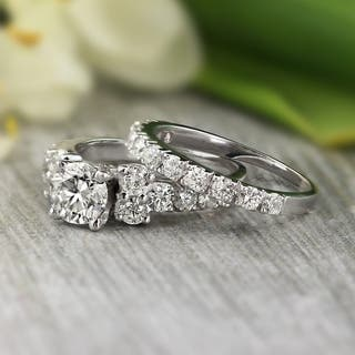 auriya platinum 2ct tdw certified round diamond engagement wedding ring set - Platinum Wedding Rings