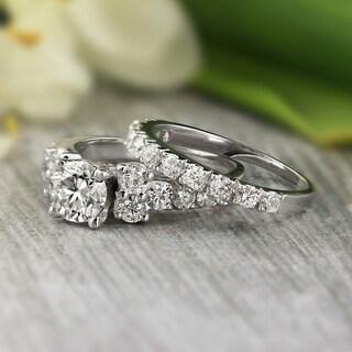 Merveilleux Auriya Platinum 2ct TDW Certified Round Diamond Engagement Ring Bridal Set