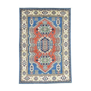 Hand-Knotted Tribal Design Wool Kazak Oriental Carpet (5'4x7'10)