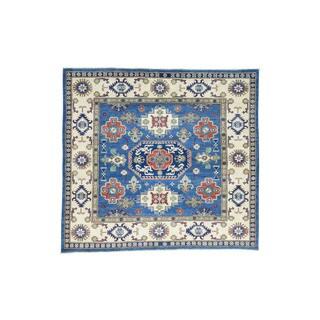 Wool Hand-Knotted Geometric Design Kazak square Carpet (5'9x6'3)