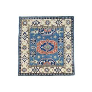 Geometric Design square Kazak Wool Hand-Knotted Carpet (5'9x6'2)