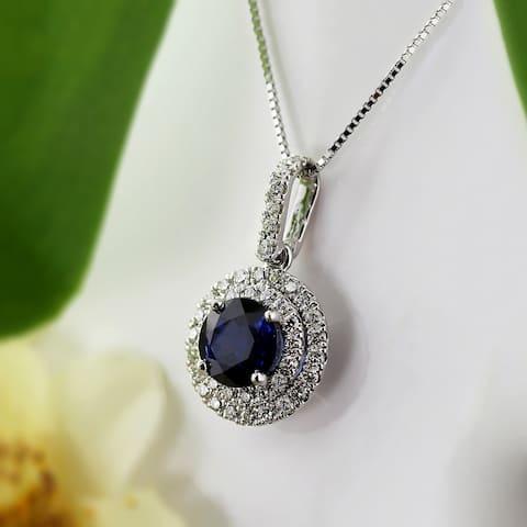 Auriya 14k Gold 2ct Blue Sapphire Halo Diamond Necklace 3/5ct TDW